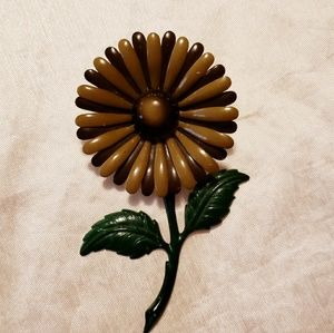 Vintage Flower Metal Enamel Broach